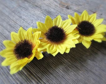 Sunflower Barrette, Sunflower Hair Barrette, Yellow Flower Barrette, Large French Barrette, Hair Clip, Wedding Bridal Prom Hair Accessories