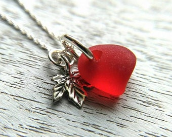 Red sea glass necklace + maple leaf charm