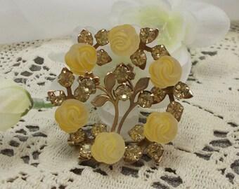 Vintage Yellow Acrylic Rose and Rhinestone Circle Pin  2930