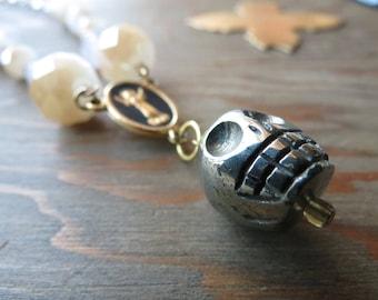Pyrite Skull Necklace - skull necklace -  Rosary Chain - Skull necklace - Goth Necklace - Vampire - Victorian Skull - Steampunk skull