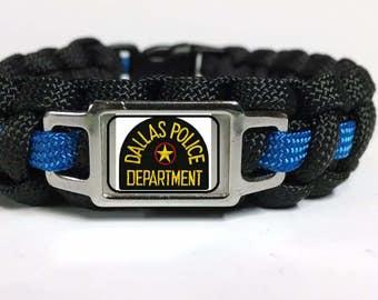 Thin Blue Line Dallas Police Department DPD Shoulder Patch Paracord Survival Bracelet