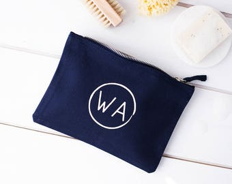 Personalised Circular Monogram Wash Bag - Personalised Washbag - Custom Wash Bag - Toiletry Bag - Mens Wash Bag - Travel Wash Bag - Wash Bag