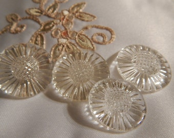 Daisy Shaped Clear Glass Buttons - 4 Buttons with Two Sizes