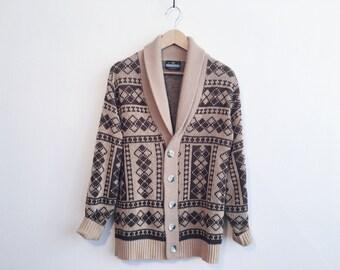 Vintage Brown Cowichan Shawl Collar Lebowski Sweater Cardigan
