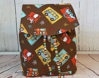 Lucy backpack with cars and trucks,  diaper bag