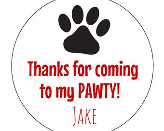 12 Paw Print Stickers, Paw Labels, Dog Party, Puppy Birthday, Paw Print Labels, First Birthday, Dog Birthday, Puppy Theme, Dog Favors