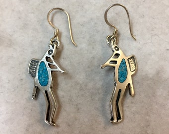 Sterling silver kokopelli earrings, kokpelli earrings, kokpelle earrings, kokopelli jewelry, kokpelli, fertility earrings, fertility jewelry