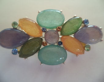 Vintage Signed Exquisite Small Multi Coloured Acrylic Stones Brooch/Pin  Pretty