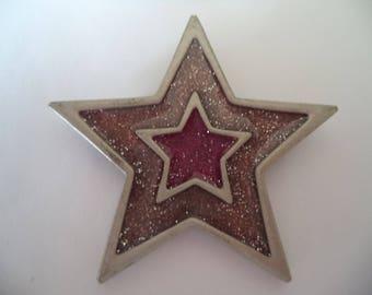Vintage Signed JJ Silvertone/Pink Sparkling Star Brooch/Pin