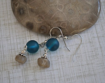 Petoskey stone nugget and teal beach glass earrings, Up North Michigan, Lake Michigan