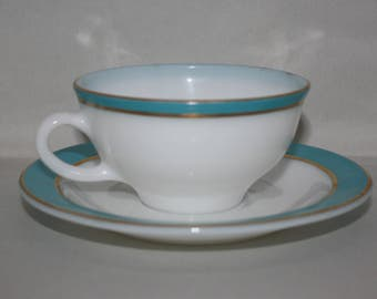 2 Vintage Pyrex Cups and Saucers Milk Glass with Aqua Stripe and Gold Trim  - Made in USA