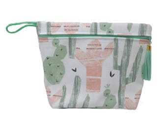 Cactus Lined Makeup Bag or Wet Bag- BPA Free- Machine Washable
