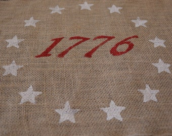 Burlap Patrotic Placemats / Americana Placemats / Flag Placemats / 1776 Placemat
