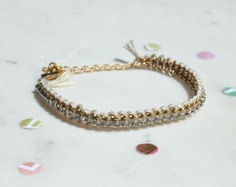 Ivory Woven Rhinestone Chain Bracelet