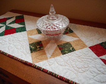 Quilted Christmas Table Runner, homemade quilt, dining linen holiday, red green quilted topper, christmas kitchen decor, holiday quilted