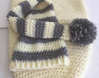 Newborn Cocoon, Stocking Cap Set, Crochet Baby Hat, Gender Neutral, Baby Boy Hat, Baby Girl Cap, Infant Knit Cocoon, Baby Shower Gift
