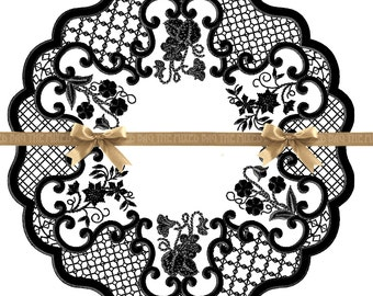 Breakfast at Tiffany's Black and White Lace Printable Placemats Digital Wedding Bridal Shower Party Birthday New Year's Download Centerpiece