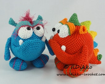 Amigurumi Crochet Pattern - Monty and Myrtle the Monsters
