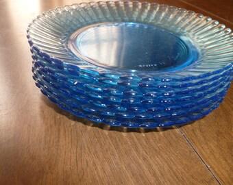 Set of Blue Glass Dessert Plates