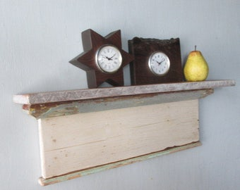 Shabby Shelf / Recyled Shelf / Shabby White Shelf / Salvaged Wood Shelf / Vintage Shelf / Old Shelf / Shabby Wall Shelf / Wall Shelf