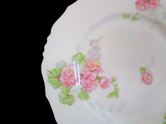 Antique Limoges Salad or Dessert Plates, Jean Pouyat, JPL Limoges, Pink Carnations, Pink Floral Limoges, 5 Avail