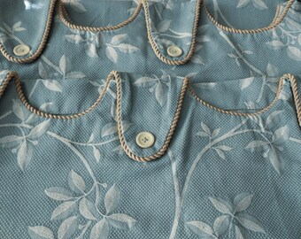 Pair of Vintage 1980's Colonial Blue, Designer Tab Curtains or Curtain Panels, Shower Tie Backs, JC Penny Home Collection