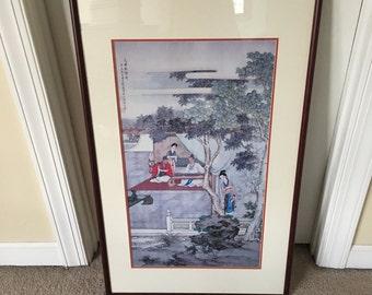 """Oriental Japanese Scene print glass framed 23"""" x 38"""""""