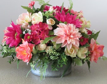Silk Flower Centerpiece, Spring Floral Arrangement, Mother's Day Gift, Gift For Her
