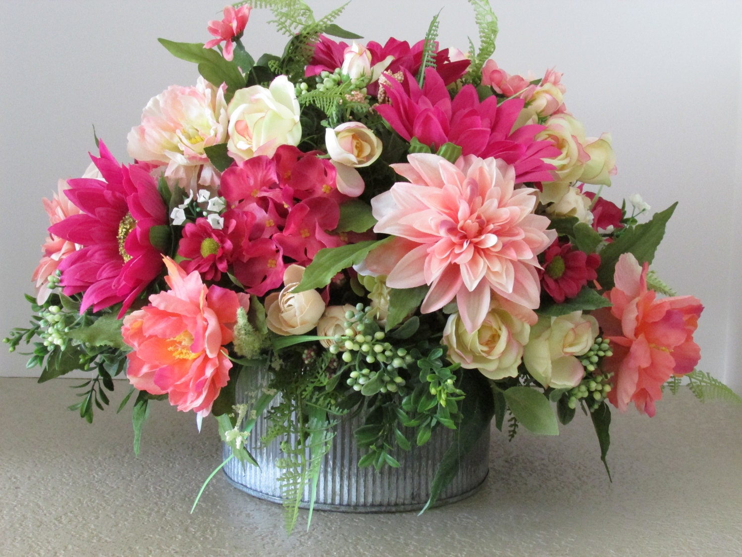 Silk flower centerpiece spring floral arrangement