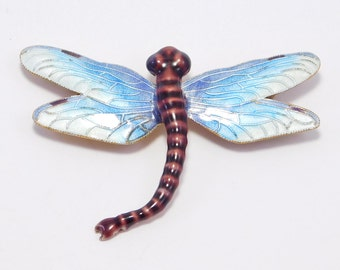 Cloisonne Sterling Dragonfly Brooch Awesome