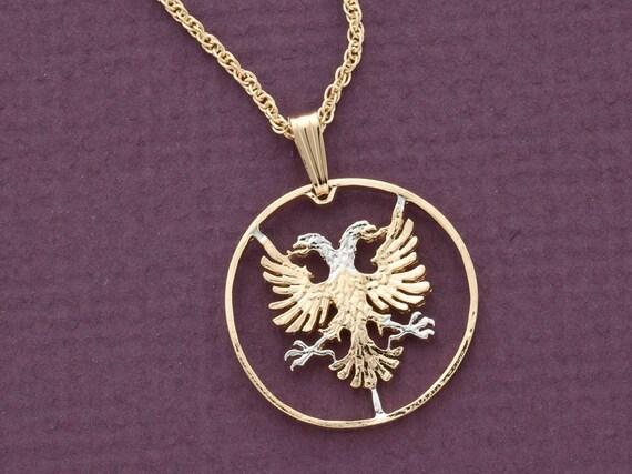 albanian eagle pendant cut albanian coin albanian