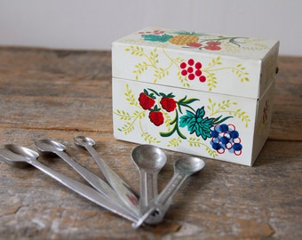 Vintage Recipe Box with Mismatched Measuring Spoons