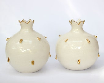 Set of 2 Two Delicate Creamy White Porcelain Vases, Real Gold Accents, Engagement, Wedding, 18th Anniversary Gift, Pomegranate Art, Hostess