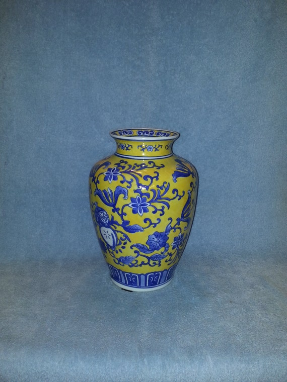 Asian Vase Hand Painted Cobalt Blue And Yellow