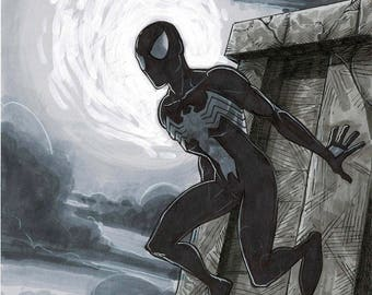 SPIDER-MAN (Black Costume) - by comic book artist Blair Shedd
