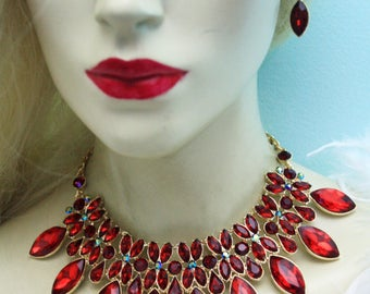 Statement Necklace Rhinestone Crystal Earrings Red Gold Tone Prom Bridal Jewelry Pageant