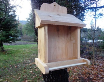 Cedar Bird Feeder - All Natural Western Red Cedar - Hand Crafted - Easy Loading - Naturally Decay Resistant