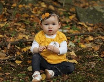 Mustard yellow grey headband , Double rosettes headband , Baby Fall headband
