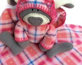 Mac Bunny, Unique baby lovey blanket, pink tartan plaid security Blanket, stuffed rabbit, pink baby shower gift, waldorf toy, must love pink