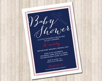 Baby Shower Baseball Invitation  - Little Slugger