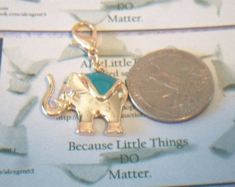 Aqua Enamel Elephant Charm Jewelry Making Supplies Gold Tone