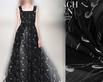 100% Pure Silk Black Chiffon Fabric with White Dandelion Prints for Summer