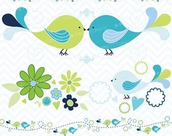 80% OFF SALE bird tweets clipart commercial use, vector graphics, digital clip art, digital images  - CL425
