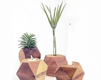 Geometric candle holder, wood candle holder, geometric bud vase, wood bud vase, flower vase, tea light candle holder, mother's day gift