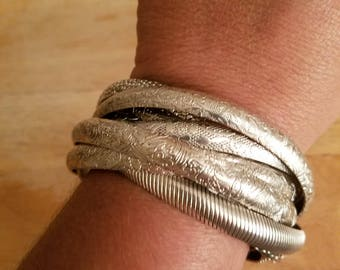 Vintage Silvertone Metal Intertwined Bangle Bracelets