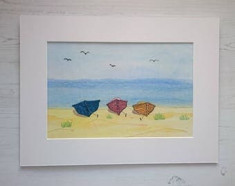 Mixed Media Seaside View of Fishing Boats on a Beach