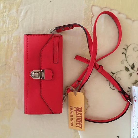 Red Ferrari Organizer Wallet with adustBle shoulder strap, Red leather Wallet, red purse, red clutch, Red leather organiser
