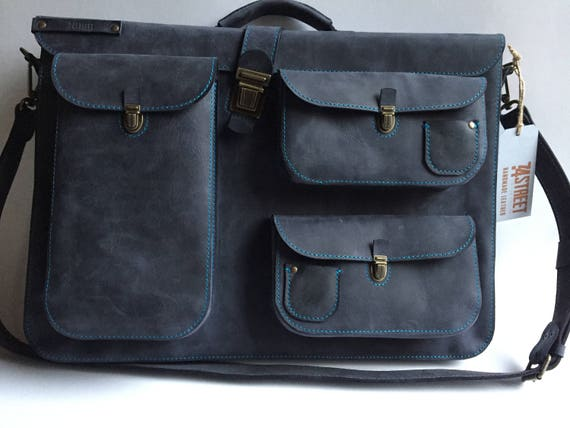 Blue leather Bag, Painter Gilberto's  Full grain Leather Briefcase, leather bag,leather macbook pro bag, Waterproof bag