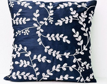 Navy Blue Throw Pillows Bead Sequin, Leaves Pillow -Silk Pillow, Cushion Cover Zipper, All Sizes, Blue White Pillow, Sequin Pillow, Gifts