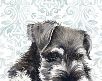 Mini Schnauzer Watercolor Painting, Animal Art, Schnauzer Painting, Schnauzer Watercolor, Schnauzer Art, Dog Art, Schnauzer, Schnauzer Print